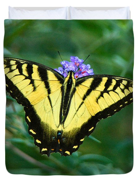A Yellow Butterfly Duvet Cover by Raymond Salani III
