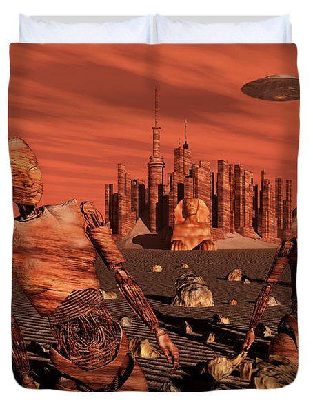 Abandoned Relics From An Advanced Duvet Cover by Stocktrek Images