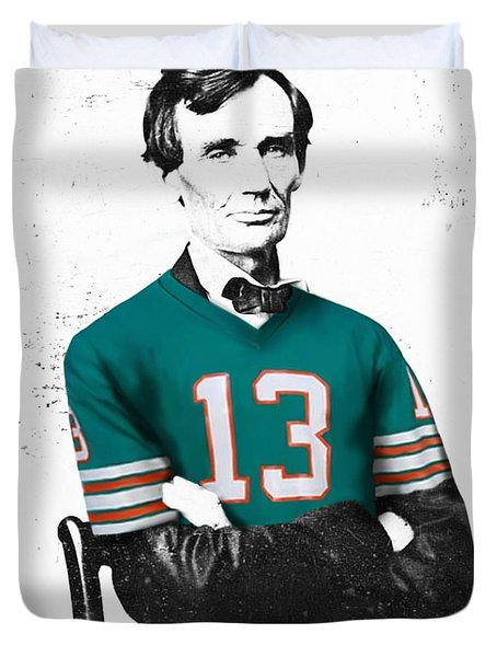 Abe lIncoln in a Dan Marino Miami Dolphins Jersey Duvet Cover by Roly Orihuela