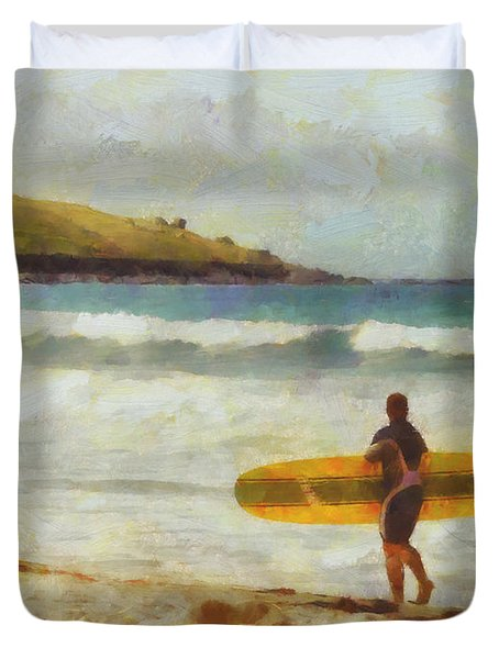 About to surf Duvet Cover by Pixel Chimp