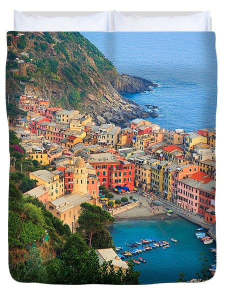 Above Vernazza Duvet Cover by Inge Johnsson