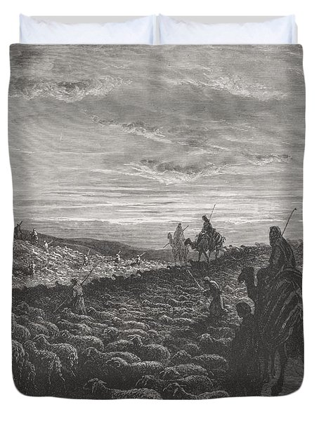 Abraham Journeying Into The Land Of Canaan Duvet Cover by Gustave Dore
