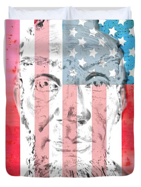 Abraham Lincoln Vintage American Flag Duvet Cover by Dan Sproul