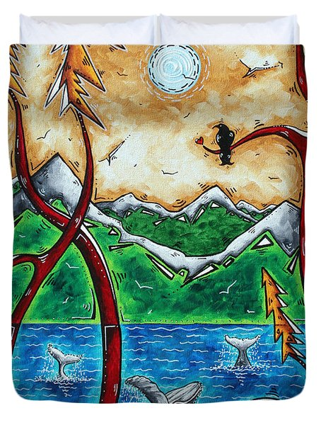 Abstract Art Original Alaskan Wilderness Landscape Painting LAND OF THE FREE by MADART Duvet Cover by Megan Duncanson