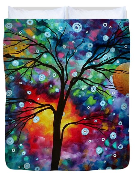 Abstract Art Original Colorful Landscape Painting A MOMENT IN TIME by MADART Duvet Cover by Megan Duncanson