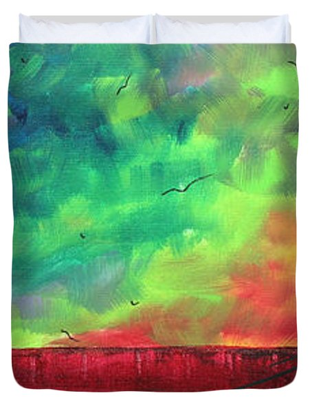 Abstract Art Original Colorful Landscape Painting Burning Skies By Madart  Duvet Cover by Megan Duncanson