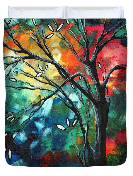 Abstract Art Original Colorful Painting Spring Blossoms By Madart Duvet Cover by Megan Duncanson