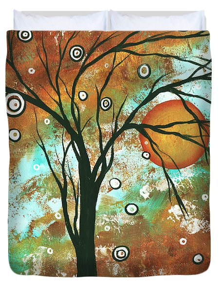 Abstract Art Original Landscape Painting Bold Circle Of Life Design Autumns Eve By Madart Duvet Cover by Megan Duncanson