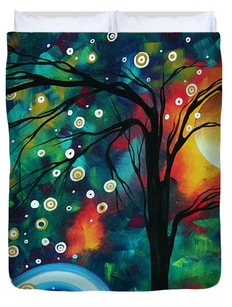 Abstract Art Original Landscape Painting Bold Circle Of Life Design Dance The Night Away By Madart Duvet Cover by Megan Duncanson