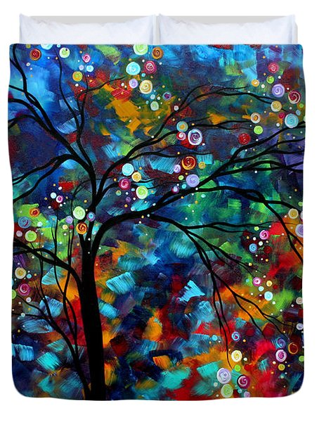 Abstract Art Original Landscape Painting Bold Colorful Design SHIMMER IN THE SKY by MADART Duvet Cover by Megan Duncanson