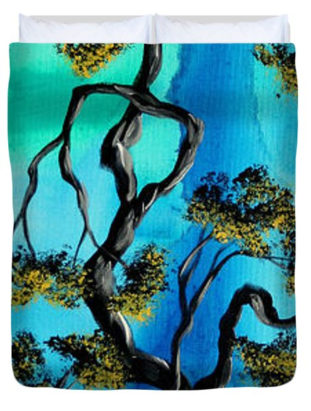 Abstract Art Original Landscape Painting Life Is A Maze By Madart Duvet Cover by Megan Duncanson