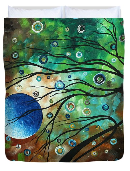 Abstract Art Original Landscape Painting Mint Julep By Madart Duvet Cover by Megan Duncanson