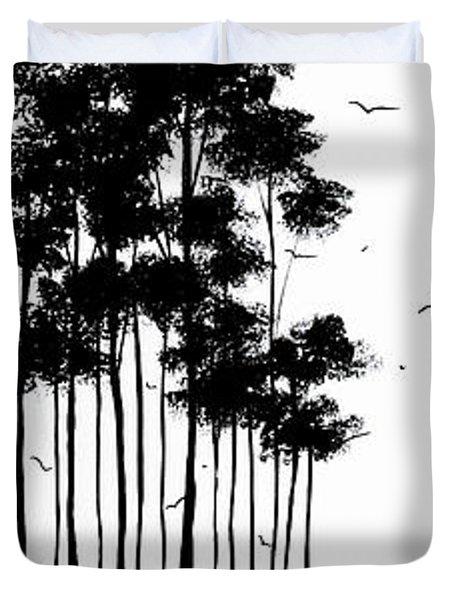 Abstract art Original Landscape Pattern Painting by Megan Duncanson Duvet Cover by Megan Duncanson
