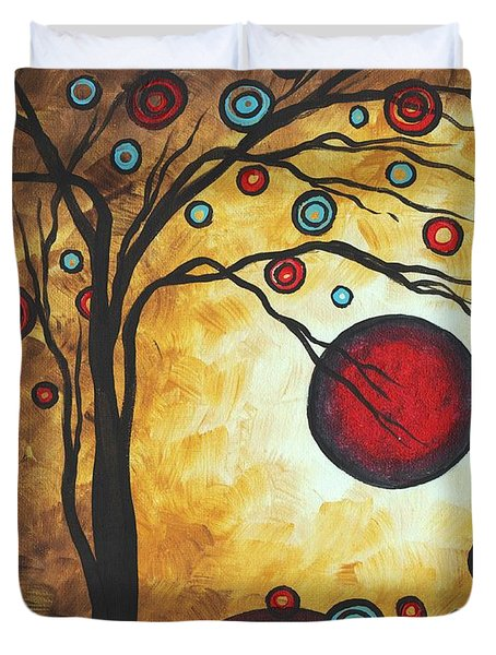 Abstract Art Original Metallic Gold Landscape Painting Freedom Of Joy By Madart Duvet Cover by Megan Duncanson