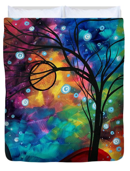 Abstract Art Original Painting Winter Cold By Madart Duvet Cover by Megan Duncanson
