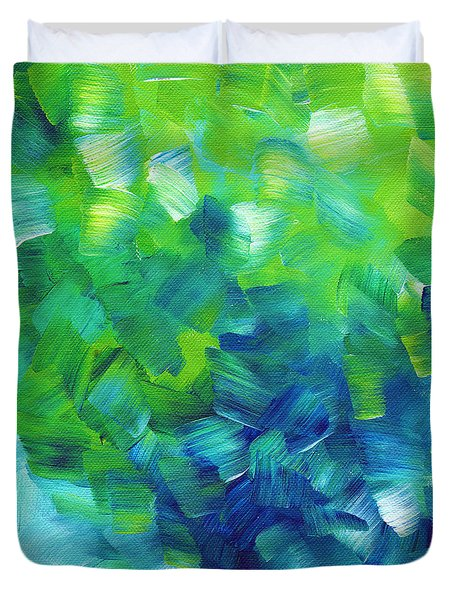 Abstract Art Original Textured Soothing Painting SEA OF WHIMSY I by MADART Duvet Cover by Megan Duncanson