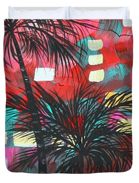 Abstract Art Original Tropical Landscape Painting FUN IN THE TROPICS by MADART Duvet Cover by Megan Duncanson