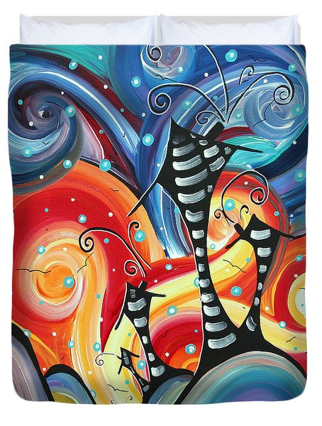 Abstract Art Whimsical Cityscape Funky Houses Homeland By Madart Duvet Cover by Megan Duncanson