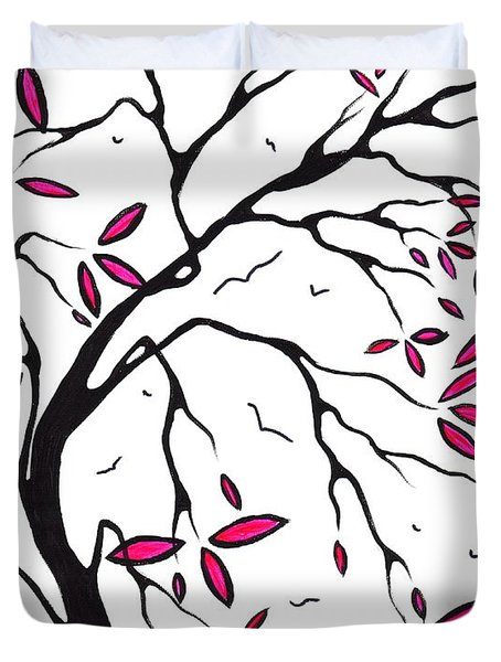 Abstract Artwork Modern Original Landscape Pink Blossom Tree Art PINK FOLIAGE by MADART Duvet Cover by Megan Duncanson