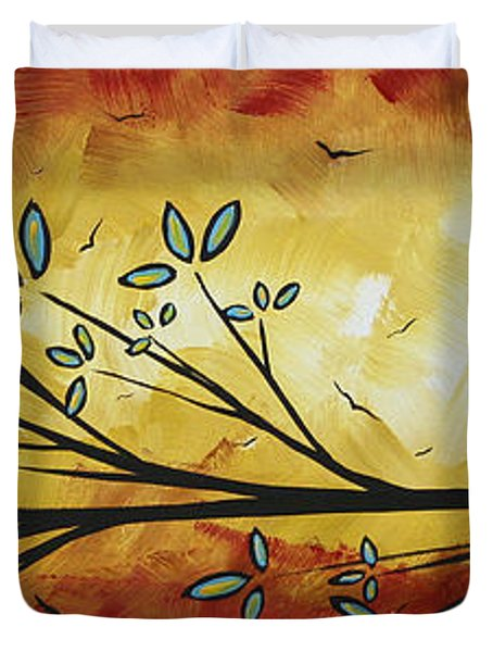 Abstract Bird Landscape Tree Blossoms Original Painting Family Of Three Duvet Cover by Megan Duncanson