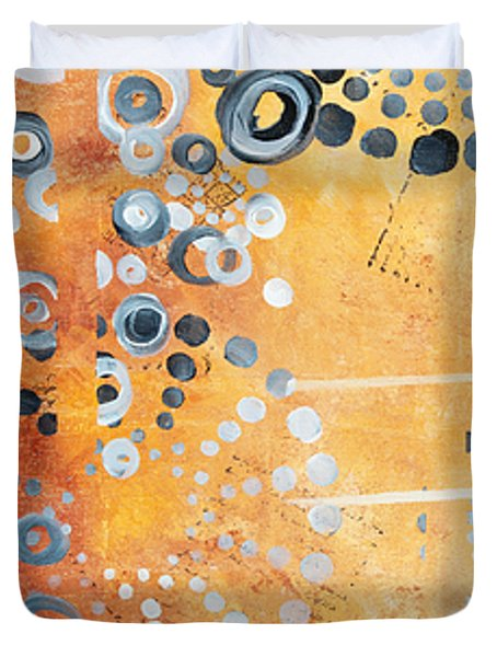 Abstract Decorative Art Original Circles Trendy Painting by MADART Studios Duvet Cover by Megan Duncanson