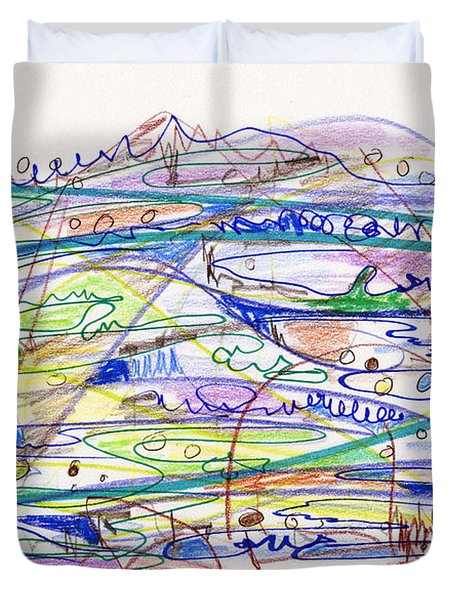Abstract Drawing Eleven Duvet Cover by Lynne Taetzsch