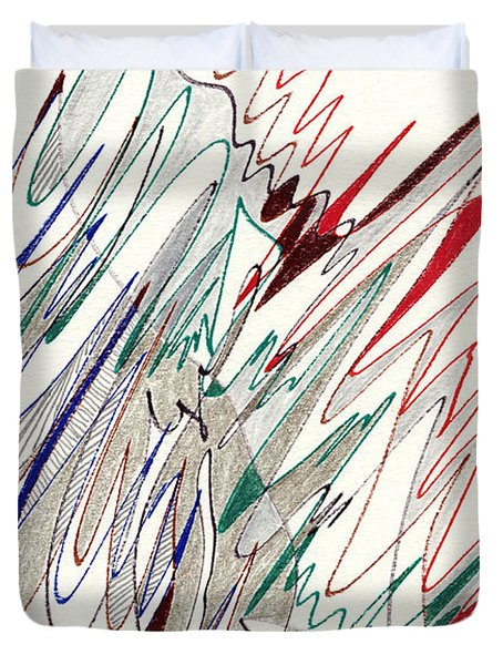 Abstract Drawing Fifty-one Duvet Cover by Lynne Taetzsch