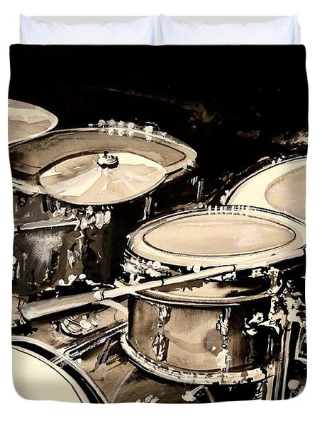 Abstract Drum Set Duvet Cover by J Vincent Scarpace