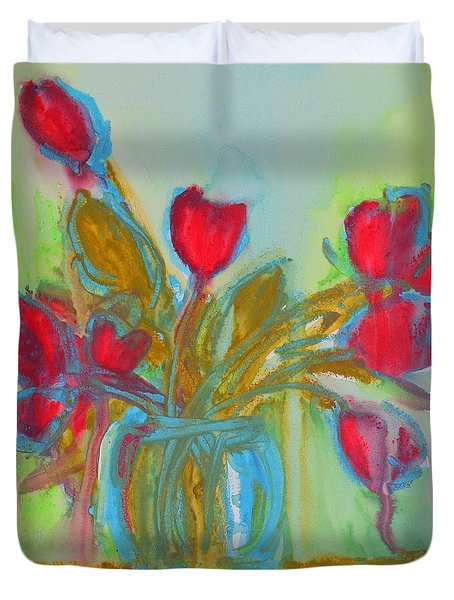 Abstract Flowers Duvet Cover by Patricia Awapara