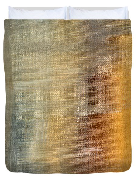 Abstract Golden Yellow Gray Contemporary Trendy Painting Fluid Gold Abstract I By Madart Studios Duvet Cover by Megan Duncanson