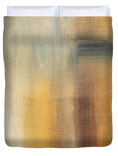 Abstract Golden Yellow Gray Contemporary Trendy Painting Fluid Gold Abstract II By Madart Studios Duvet Cover by Megan Duncanson
