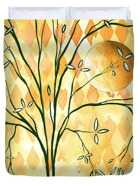 Abstract Harlequin Diamond Pattern Painting Original Landscape Art Moon Tree by Megan Duncanson Duvet Cover by Megan Duncanson