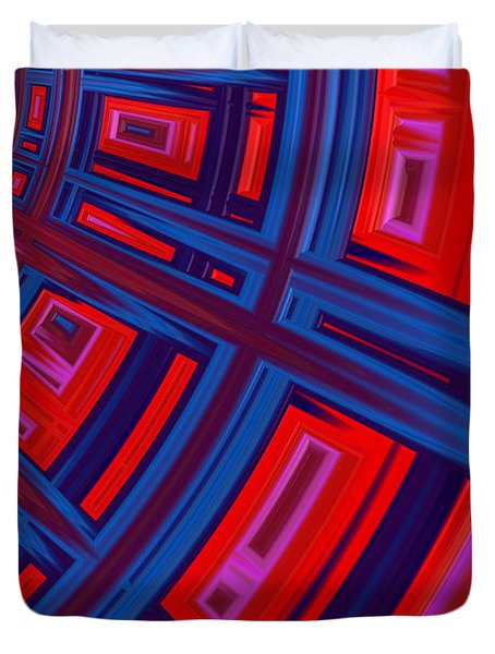 Abstract In Red And Blue Duvet Cover by John Edwards