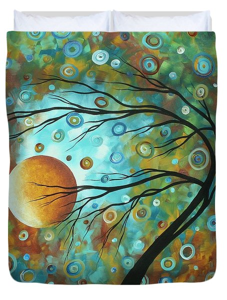 Abstract Landscape Circles Art Colorful Oversized Original Painting Pin Wheels In The Sky By Madart Duvet Cover by Megan Duncanson