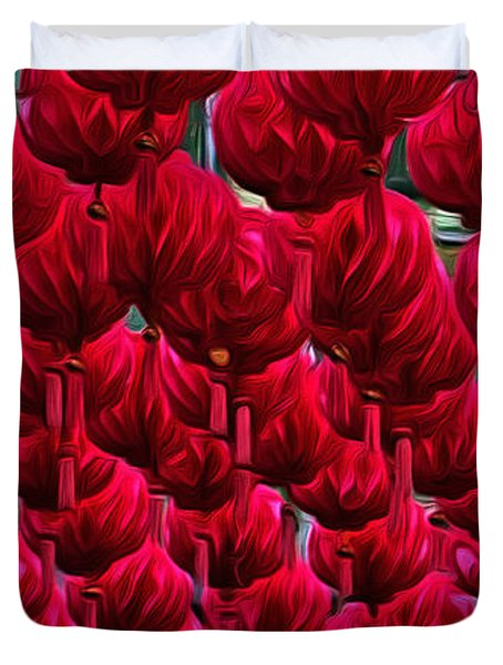 Abstract Lanterns Duvet Cover by Kaye Menner