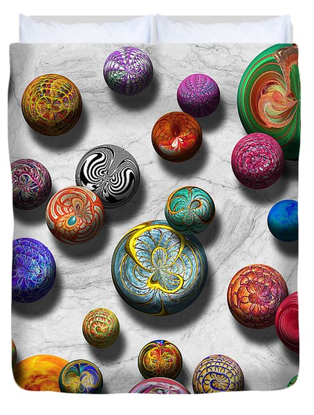 Abstract - Marbles Duvet Cover by Mike Savad