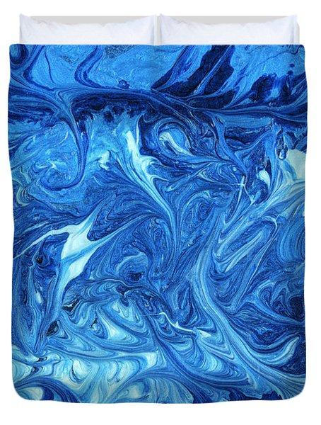 Abstract - Nail Polish - Ocean Deep Duvet Cover by Mike Savad