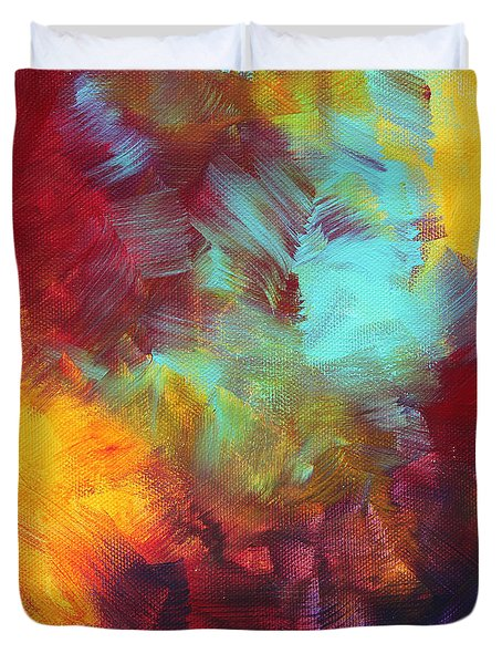 Abstract Original Painting Colorful Vivid Art Colors Of Glory II By Megan Duncanson Duvet Cover by Megan Duncanson
