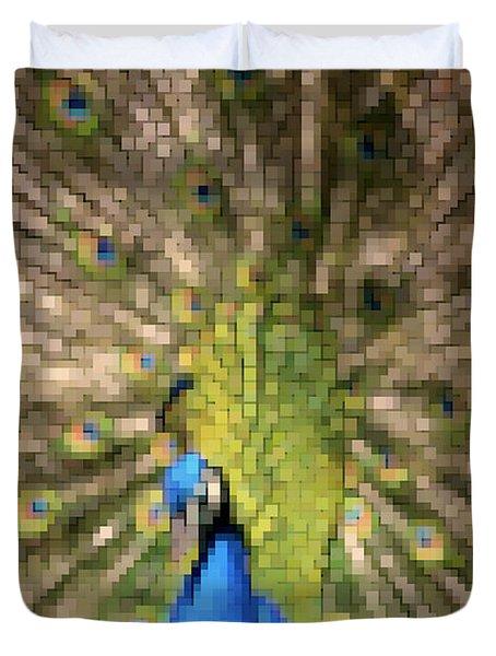 Abstract Peacock digital artwork Duvet Cover by Georgeta Blanaru