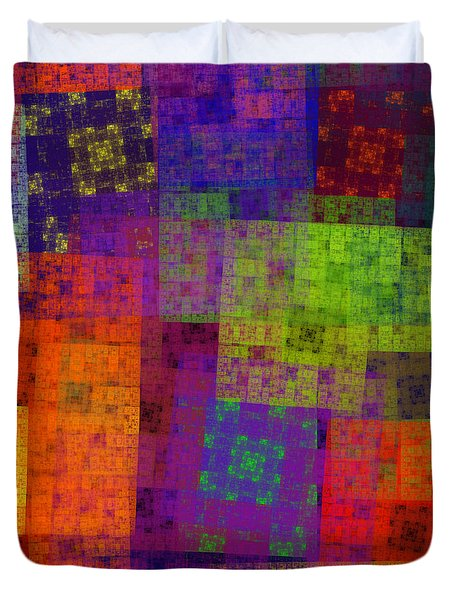 Abstract - Rainbow Bliss - Fractal - Square Duvet Cover by Andee Design