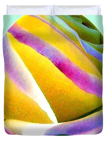 Abstract Rose Oval Duvet Cover by Will Borden