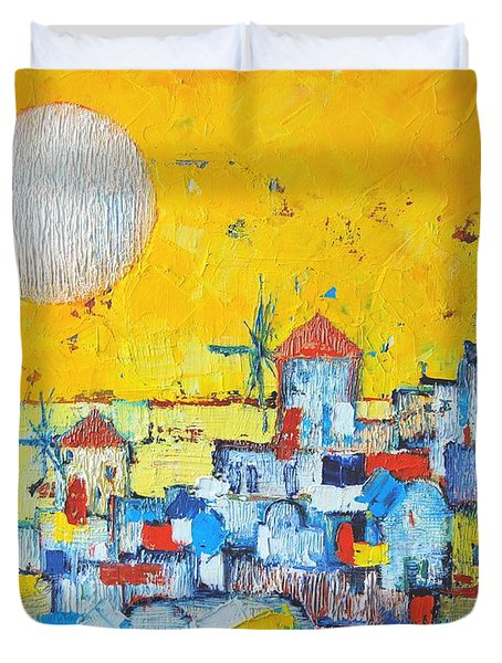 Abstract Santorini - Oia Before Sunset Duvet Cover by Ana Maria Edulescu