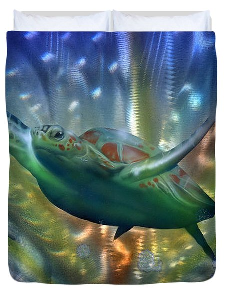 Abstract Sea Turtle 2 Duvet Cover by Luis  Navarro