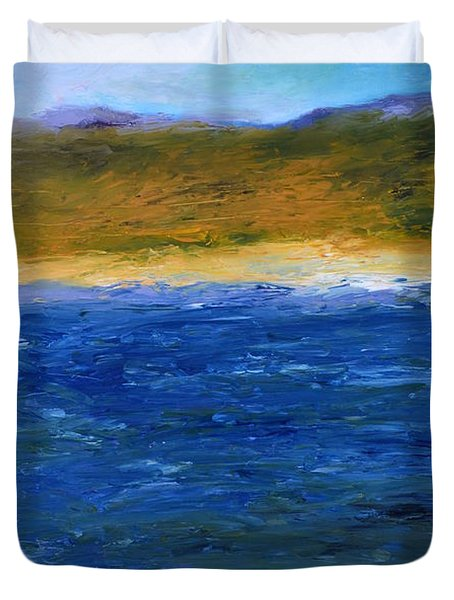Abstract Shoreline Duvet Cover by Michelle Calkins