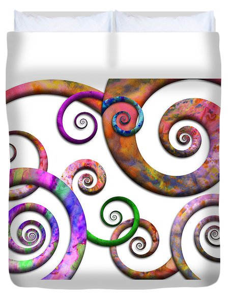 Abstract - Spirals - Planet X Duvet Cover by Mike Savad