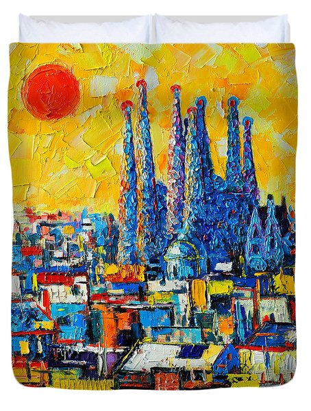 Abstract Sunset Over Sagrada Familia In Barcelona Duvet Cover by Ana Maria Edulescu