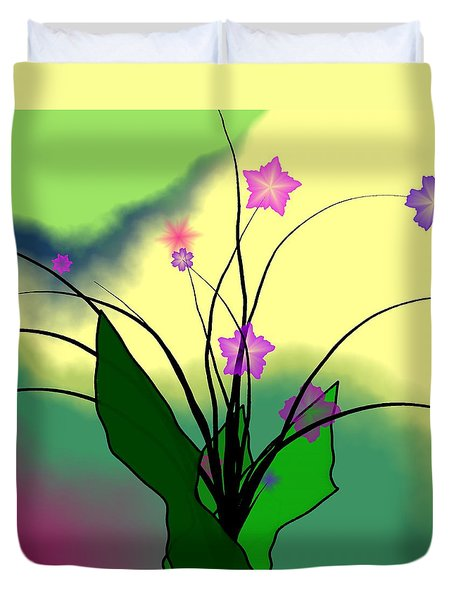 Abstract Violets Duvet Cover by GuoJun Pan