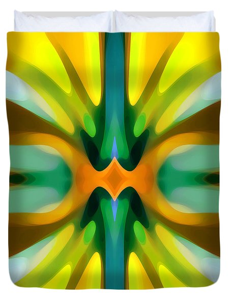 Abstract Yellowtree Symmetry Duvet Cover by Amy Vangsgard