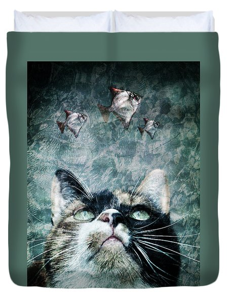 Abyss Cat Nr 2 Duvet Cover by Laura Melis