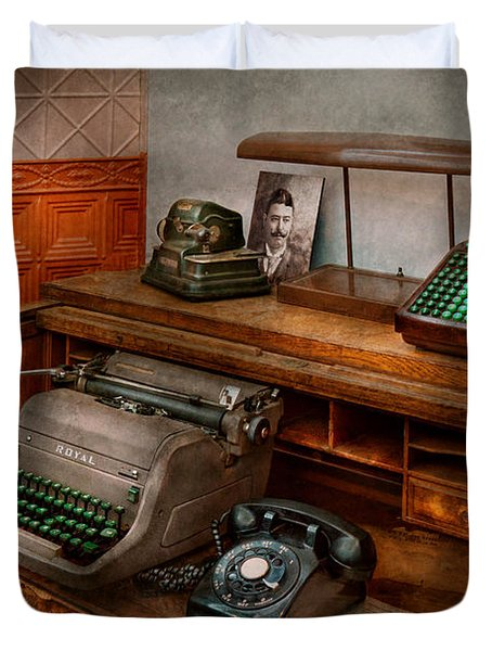 Accountant - Typewriter - The Accountants Office Duvet Cover by Mike Savad